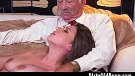 Pretty Brunette Teen Ivy Rose Tanking Out Old Dude Dick