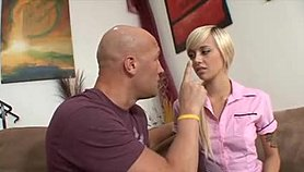 Bald dude gets sucked and fucks blonde housekeeper lying, standing and sitting